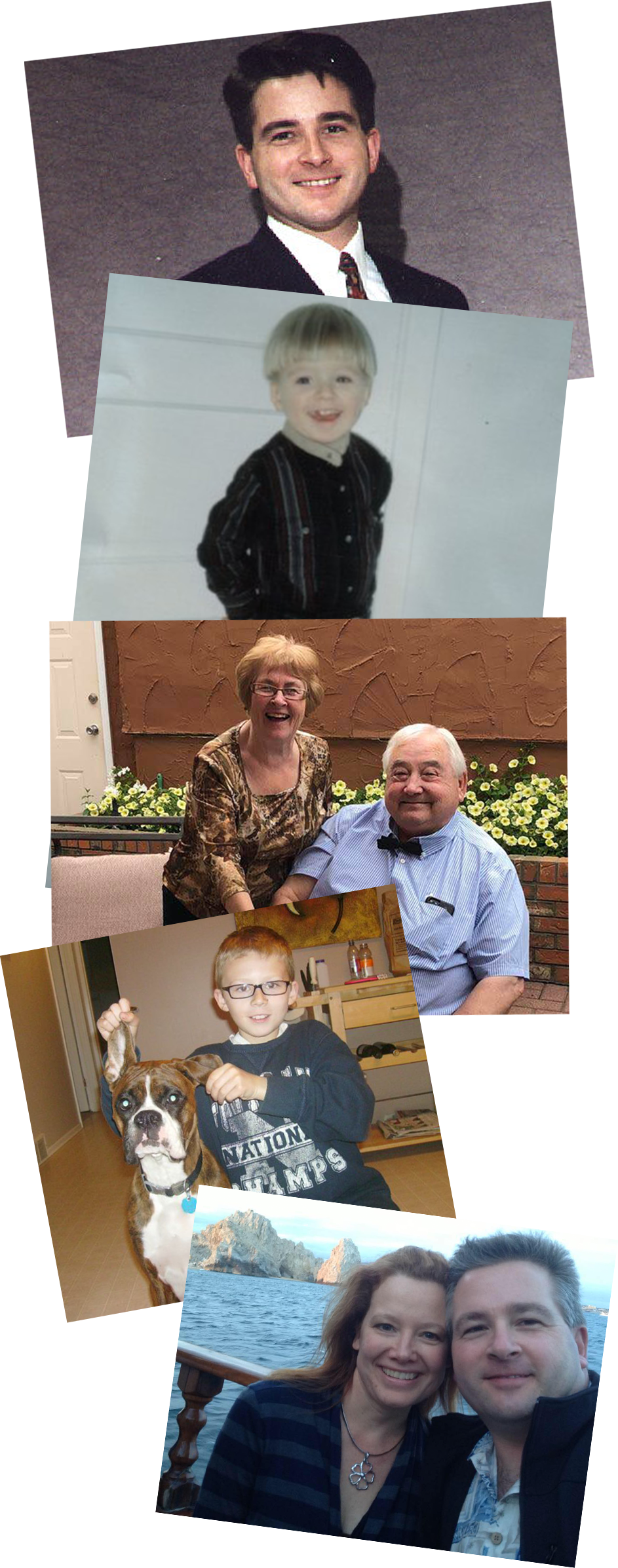 Vertical collage of photos depicting different members of the Summit Meats family